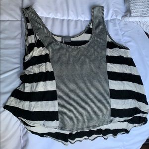 Black and cream funky striped crop tank top